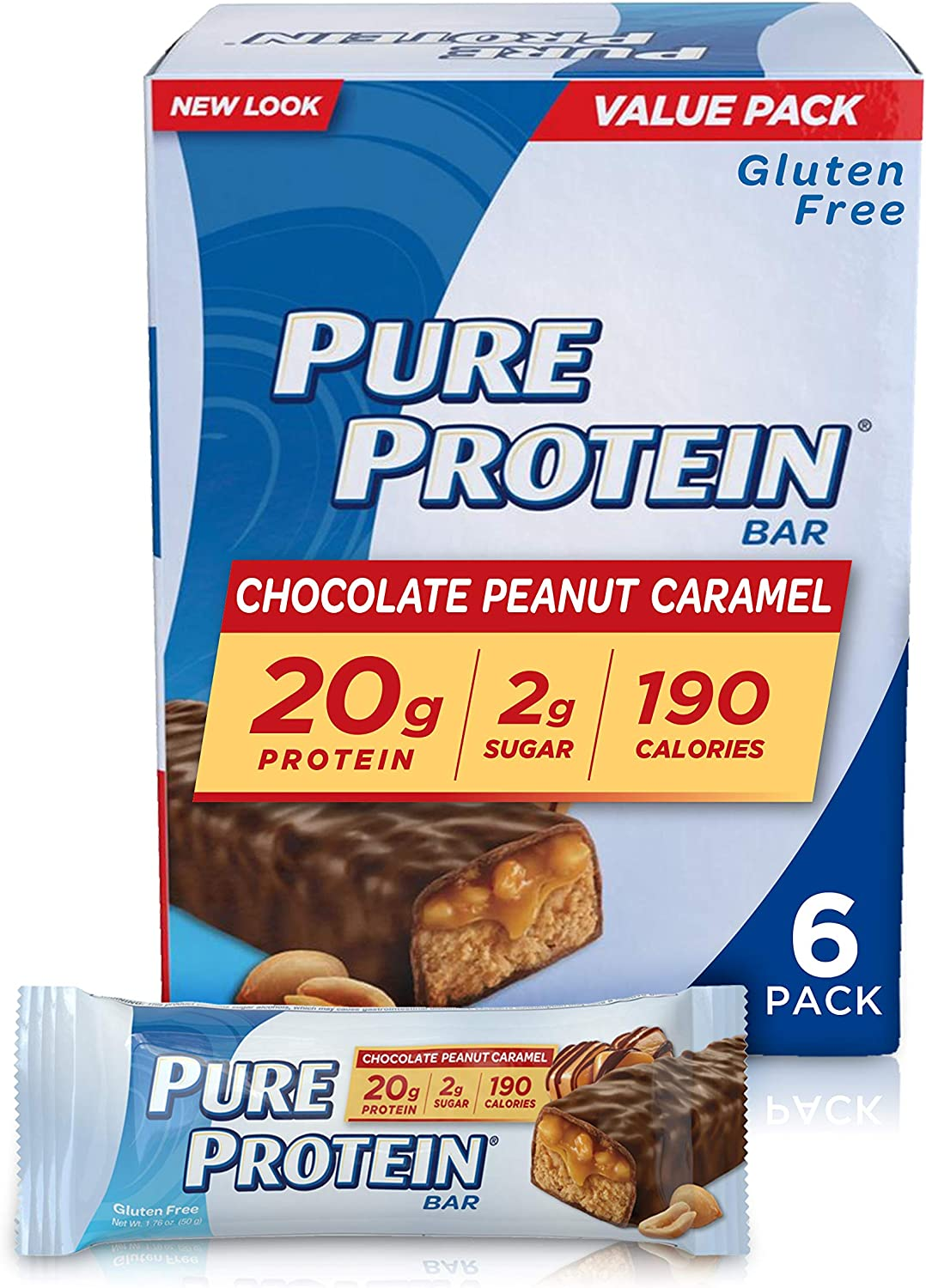 Pure Protein--High Protein Bar Chocolate Peanut Caramel--Protein Bars--20 Grams of Protein per Bar--Gluten Free--6-1.76-Ounce Bars