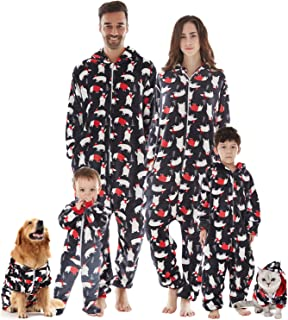Family Christmas Pajamas Matching Set, Drop Seat Onesie Hooded Zip Up One Piece PJs for Couples, Kids, Baby, Pets
