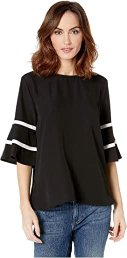 3/4 Sleeve Top with Flare and Piping