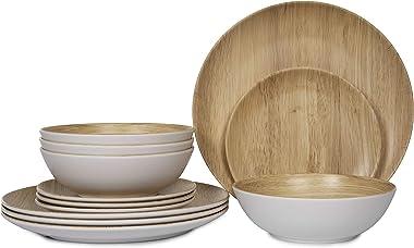 Melamine Dinnerware Set - 12pcs dinnerware set Indoor and Outdoor use, Bamboo Pattern Dishes Dinnerware Set for 4,Dishwasher