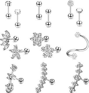 Udalyn 14 pendientes de acero inoxidable para cartílago, tragus, hélix, piercing para oreja, piercing de hélice, joyería d...