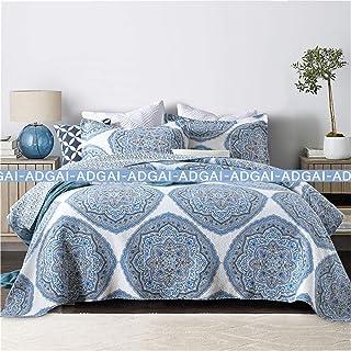 Colcha acolchada acolchada 230x250cm Moderno elegante estilo nórdico azul patrón de algodón 100% king tamaño edredón lanza ropa de cama con almohadas