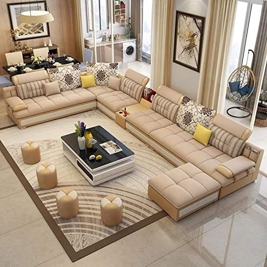 Amazon.com: My Aashis Luxury Modern U Shaped Leather Fabric Corner Sectional Sofa Set Design Couches For Living Room With Ottoman: Furniture & Decor