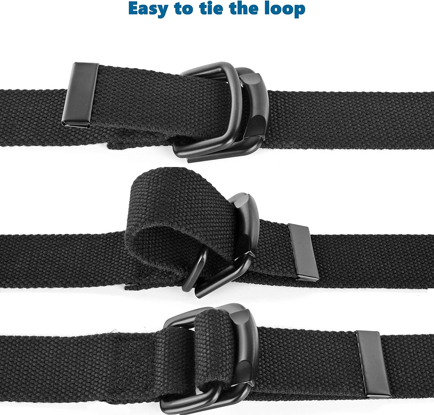 Bluecton Men Plus Size Canvas Belt Double Ring Black Cotton Fabric Cloth Big and Tall 39inch to 75inch