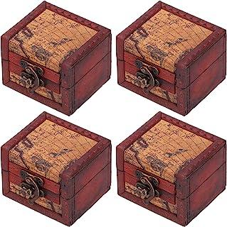 HERCHR 4 pièces Vintage Petite boîte à Bijoux en Bois, boîtes de Rangement décoratives Bijoux Coffre bibelot Souvenir Coff...