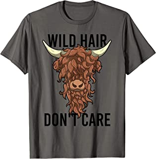 Wild Hair Don't Care T Shirt Funny Highland Cow Gift Womens T-Shirt