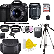 $1189 » Canon EOS 90D Digital SLR Camera Body w/Canon EF-S 18-55mm f/3.5-5.6 is STM Lens 3 Lens DSLR Kit Bundled with Accessory Bundle + 32GB + Flash + Case/Bag +Top Knotch Cloth+ More - International Model