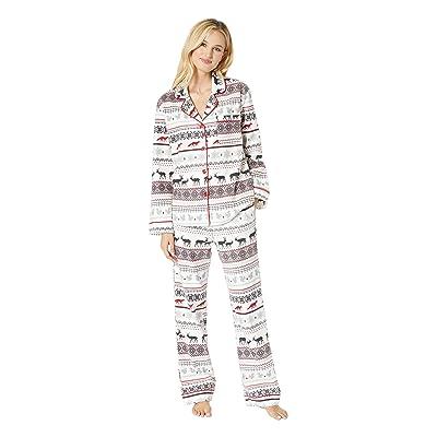BedHead Pajamas Long Sleeve Classic Notch Collar Pajama Set (American Fairisle) Women