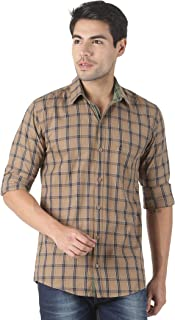 LEVIZO Men's Cotton Checkered Classic Fit Full Sleeves Casual Shirt for Men