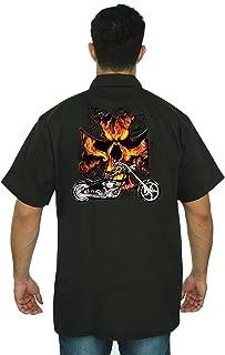 Men's Mechanic Work Shirt Motorcycle Flames Skull Cross