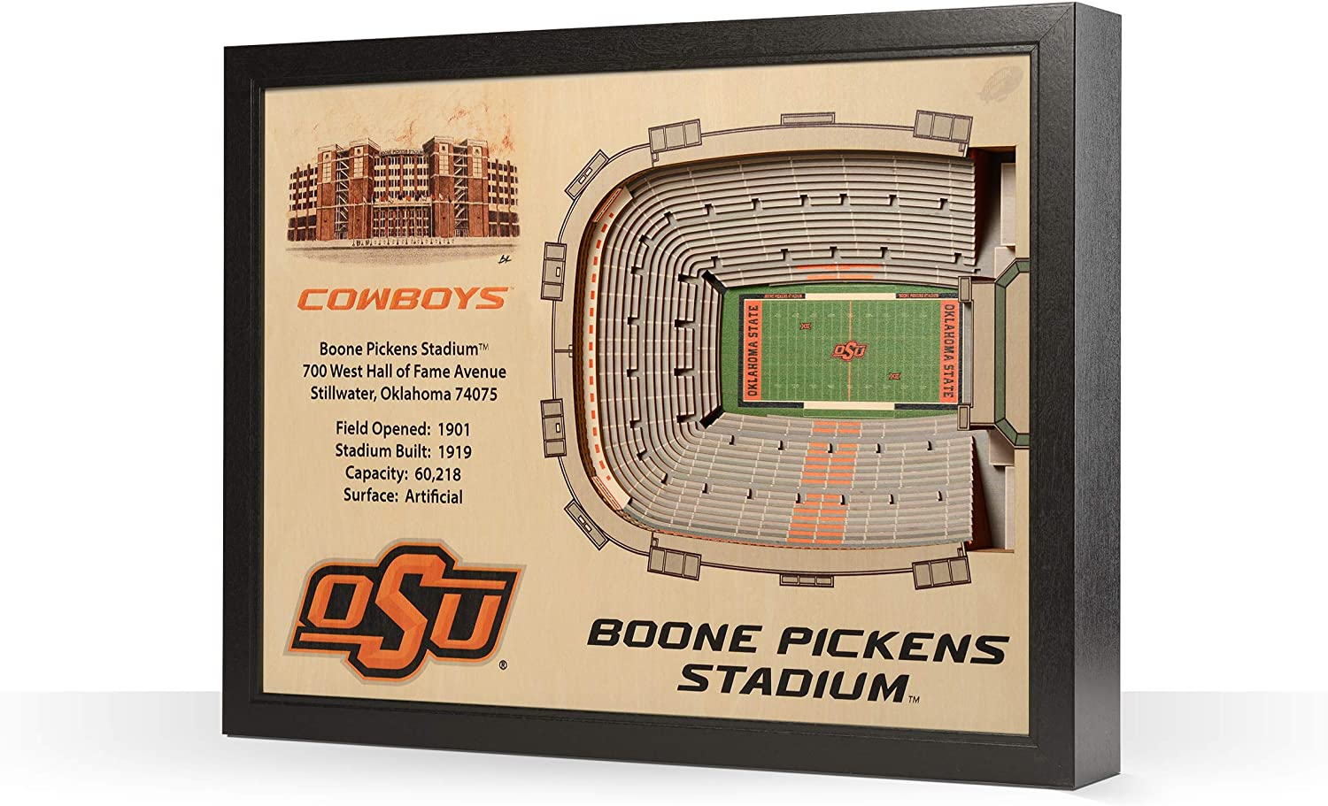 Sportula NCAA Oklahoma State Cowboys 25Layer StadiumView 3D Wall Art
