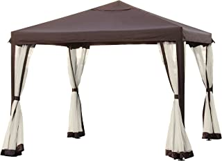 Best Choice Products Outdoor 10x10-foot Garden Patio Canopy Gazebo w/Fully Enclosed Mesh Insect Screen, Brown