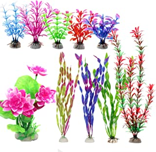 SunKni Aquarium Plants Plastic Artificial Seaweed, Fish Tank Decorations Lotus Flower 10 Pack