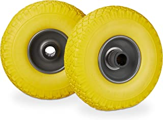 Relaxdays Hand Truck Spare Tyre Set, Flatproof, 3.00-4 Solid Rubber Wheel, 25mm Axle, 100 kg, 260 x 85 mm, Yellow-Grey