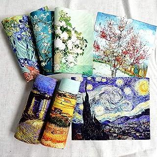 Lot de 7 toiles de coton imprimées de haute précision de 20 x 25 cm de Van Gogh, tissu pour la couture, la confection de s...