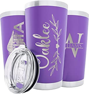 Personalized Tumblers, Purple Stainless Steel 20 oz Tumbler w/Lid   18 Different Designs   Personalized Cups Double Walled Insulated Coffee Cup for Travel, Work, Gym, Fitness Hot and Cold Drink Use