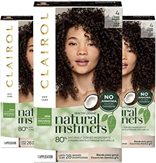 Clairol Natural Instincts Non-Permanent Hair Color Kit - 4 Dark Brown - Pack of 3