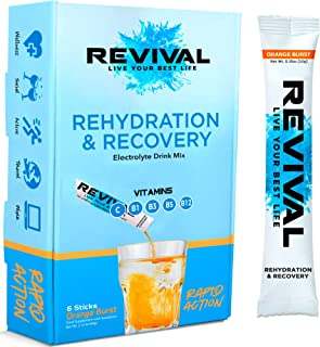 Best Revival Hydration Electrolyte Powder Packets, Supplement Drink Mix - Sport, Wellness, Travel - Orange 6 Pack Review