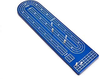 Quality Blue Cribbage Board by Gapple, Durable Aluminum Material, Precise Engraving, Gorgeous Anodized Finish, Color Variety, Metal Scoring Pegs and Convenient Peg Storage