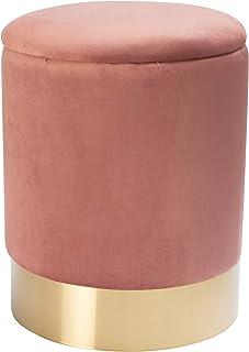 MONTEMAGGI Pouf de rangement en velours avec base dorée rose poudré 31 x 31 x 39 cm