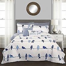Lush Decor, Navy Rowley Birds 7 Piece Reversible Quilt Set, King