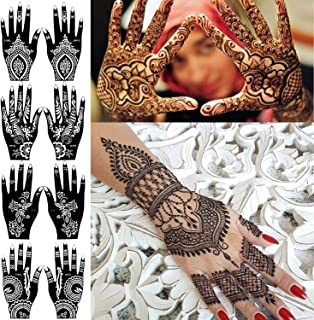 COKOHAPPY 8 Sheets Hand Indian Painting Stencil Tattoo Self-Adhesive Body Art Designs for Hands - Temporary Indian Arabian Tattoo Reusable Stickers