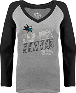Old Time Hockey San Jose Sharks Womens Grey Heathered Patricia V-Neck Long Sleeve Raglan T-Shirt