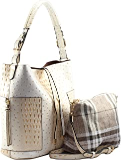 2 PC Set Ostrich Croco Embossed Vegan Faux Leather Square Hobo Shoulder Bag with Crossbody Purse