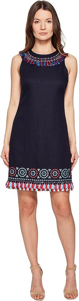 Full Plume Embroidered Tassel Dress
