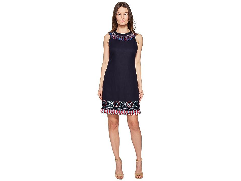 Kate Spade New York Full Plume Embroidered Tassel Dress (Rich Navy) Women