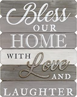 Stratton Home Decor S07685 Bless Our Home with Love & Laughter Wall Art, 14.00 W x 1.13 D x 18.00 H, Grey