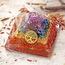 7 Chakra Large Healing Stones Orgone for EMF Protection, Abundance & Spiritual Calm |ORGONITE Pyramid with Healing Chakra Crystals & Tree of Life | Reiki Meditation Merkaba for Chakras Alignment.