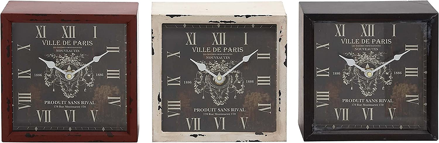 Deco 79 52528 Metal Table Clock 3 Assorted Some reservation 8