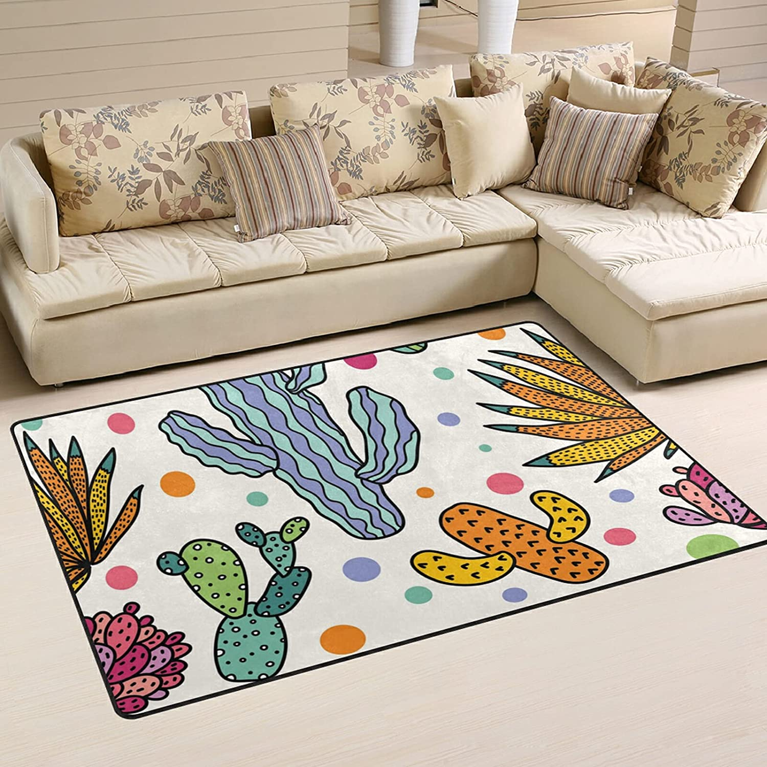 Cute Colorful Free Shipping New Cactus Large Soft Area Rug Rugs Playmat Max 58% OFF Ma Nursery