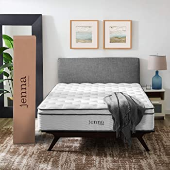 """Modway Jenna 14"""" Queen Innerspring Mattress - Top Quality Quilted Pillow Top - Individually Encased Pocket Coils - 10-Year Warranty"""