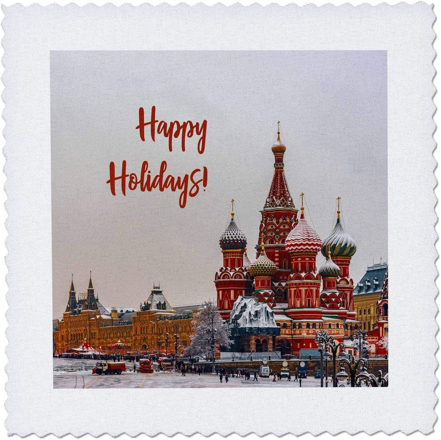 3dRose View of Saint Basils Happy Holidays New arrival Japan's largest assortment Cathedral Moscow.