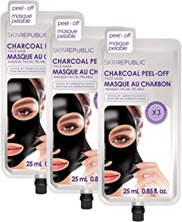 Skin Republic Charcoal Peel-Off Face Mask Treatment Removes Dirt and Blackheads One Pack has 3 Applications 3 Pack