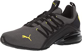 PUMA Men's AXELION Sneaker Charcoal Gray-Blazing Yellow 8.5 M US