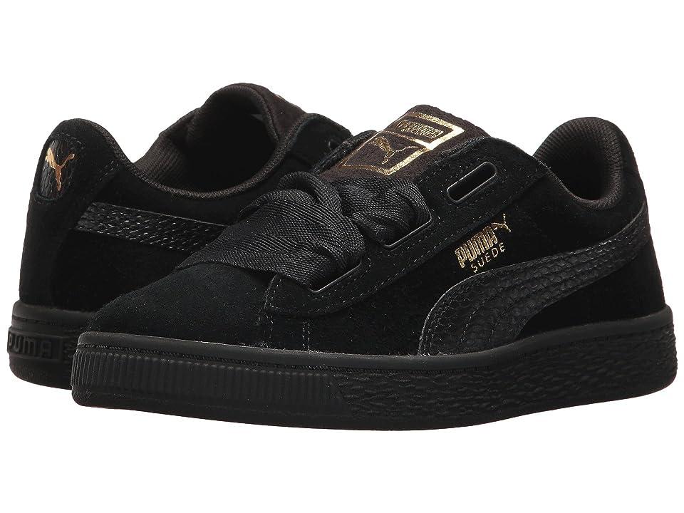 Puma Kids Suede Heart SNK (Little Kid) (Puma Black/Puma Black) Girls Shoes
