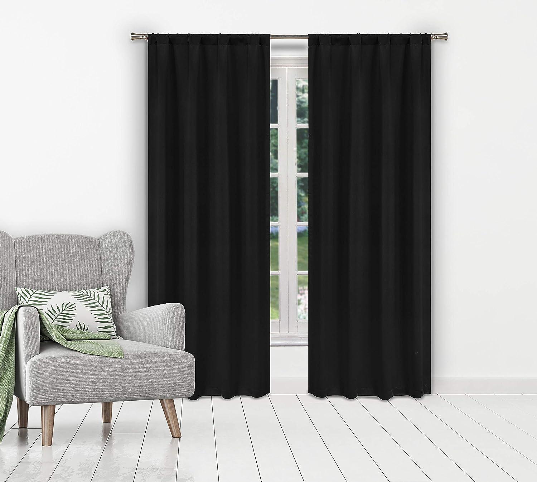 BLACKOUT 365 Ira Solid Blackout Curtain, 38x84 (2 Pieces), Black