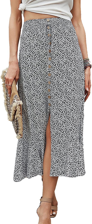 BROVAVE Women's Boho Floral Print Split Ruffle Hem Elastic Waist Swing Midi Skirt
