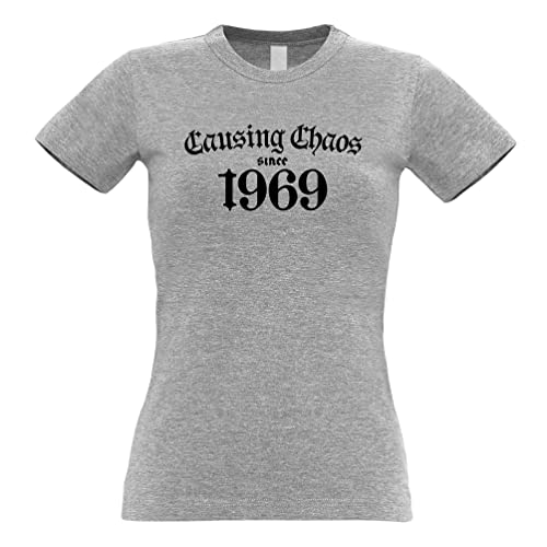 5246245f8 50th Birthday Womens Tee Causing Chaos Since 1969 Fifty