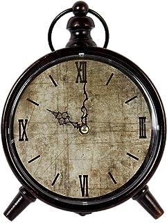 Truu Design Vintage Round Dual Clock Metal Antique Dark Brown