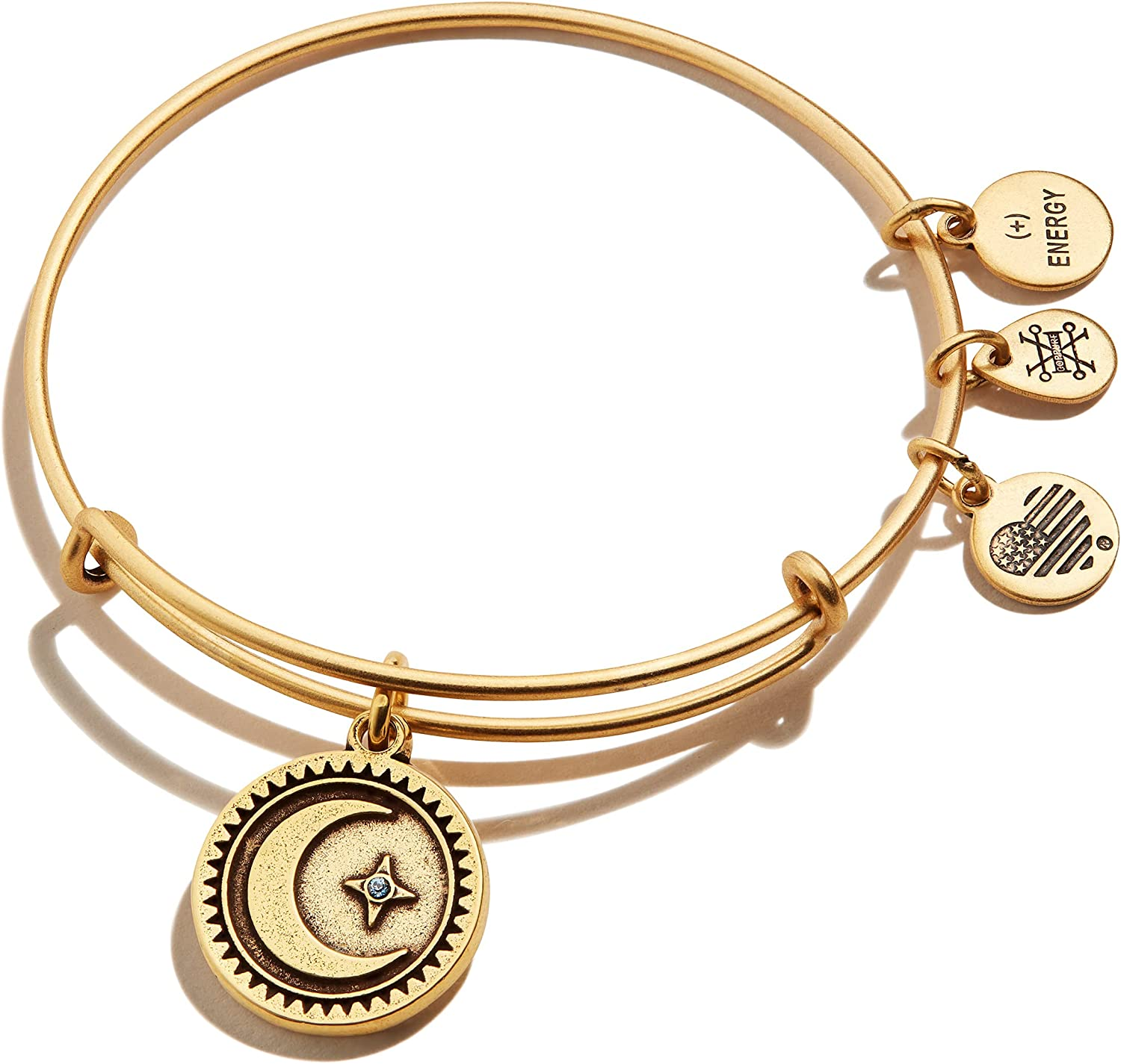 Alex and Ani Path of Symbols Expandable Bangle for Women, Crescent Moon Charm, Rafaelian Gold Finish, 2 to 3.5 in : Clothing, Shoes & Jewelry