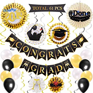 61PCS College Graduation Party Supplies Black and Gold Set, CONGRATS GRAD Banner Class of 2019 Themed Hanging Paper Fan, Balloons and Hanging Swirls, High School College Graduation Party Decoration