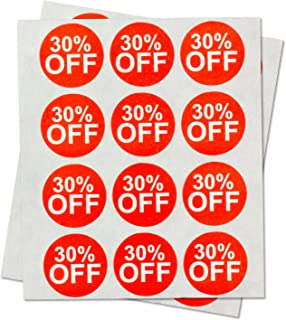 Garage Yard Sale Price Stickers Labels [30% Percent Off] for Retail Store Clearance Promotion Discount Deals Circle Pricemarker Tag Labels Stickers (Red and White / 1