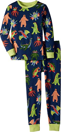 Hatley Kids - Mega Monsters Long Sleeve Pajama Set (Toddler/Little Kids/Big Kids)