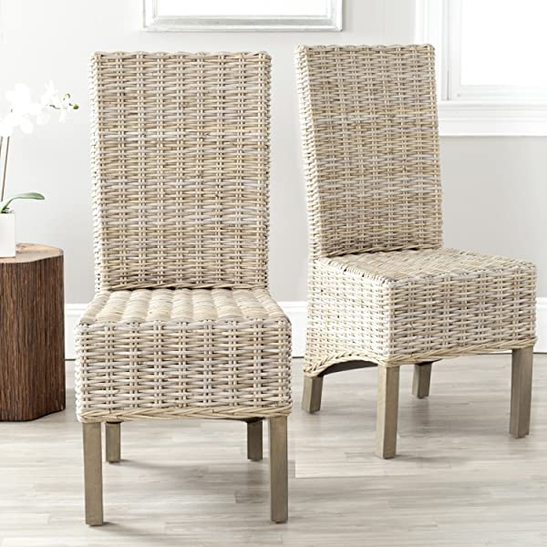 Safavieh Home Collection Pembrooke Wicker Side Chairs Antique Grey Set Of 2