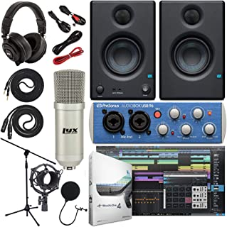 """Presonus AudioBox 96 Audio Interface (May Vary Blue or Black) Complete Studio Bundle with Studio One Artist Software Pack w/Eris 3.5 Pair Studio Monitors, Condenser Microphone, 1/4"""" Instrument Cables"""