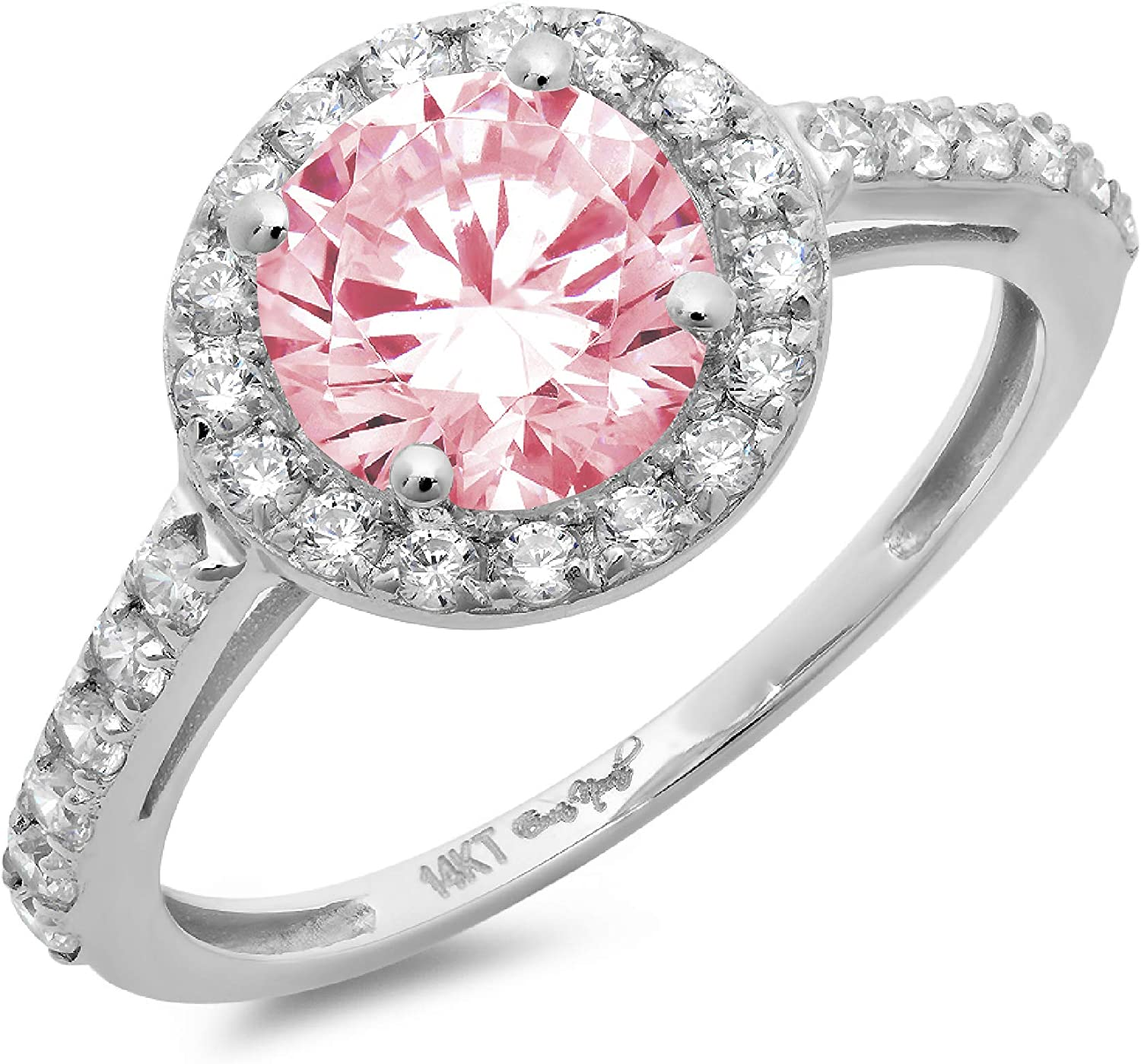 2.34ct Brilliant Round Cut Solitaire Halo Pink Ideal VVS1 Simulated Diamond CZ Engagement Promise Statement Anniversary Bridal Wedding Accent Ring Solid 14k White Gold